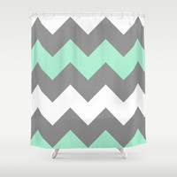 Mint White Grey Chevron Shower Curtain by CreativeAngel