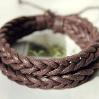 Christmas Gift Winter Handmade Stylish Brown Lucky Puce Soft hemp rope Adjustable Bracelet W-16