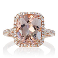 14 Karat Rose Gold 11x9 Cushion Cut Morganite Diamond Halo Solitaire Ring