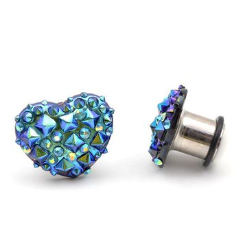Blue Purple Crystal Spike Punk Style Heart Shaped Stainless Steel Plugs Gauges 6-16mm 1Pair