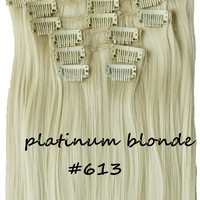 """22"""" Full Head Clip In Hair Extensions Straight (8 Wefts / 613 Platinum Blonde)"""