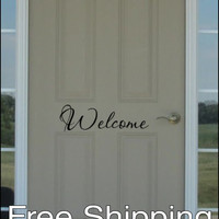 Welcome vinyl wall decal sticker front door quote art 20 X 5.5