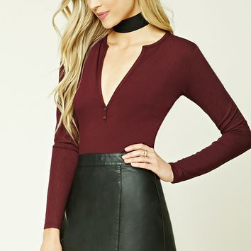 Ribbed Split-Neck Top