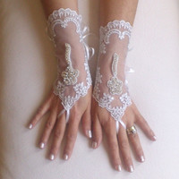 Free delivery rhinestone, lace, unique, bridal, glove, ivory, crystal, silver, bling, wedding,