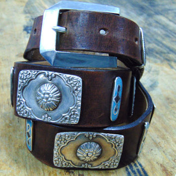 silver leather belt, heavy metal  belt, Jim  Morrison belt, Rock style belt, sterling  silver  bucle -sterling silver led belt