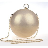 Famous Brand Design Fashion Pearl Ball Shape Evening Bags Cute Gold Silver Paty Round Globe Handbags Shoulder Bag Woman Purse