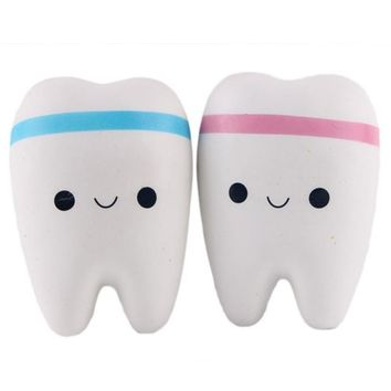 11cm Novelty Toy Squishy Tooth Slow Rising Kawaii Soft Squeeze Cute Cell Phone Strap Toys Kids Baby Gift Random Color
