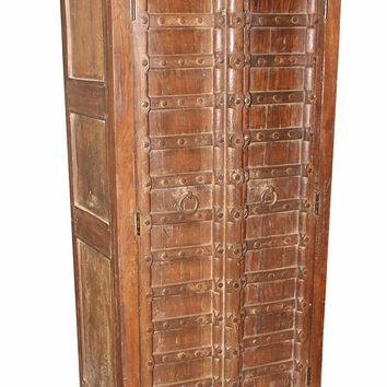 Antique Indian Doors with Iron Straps Hand Crafted Armoire Urban Interior