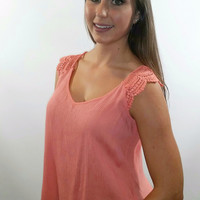 Tie Back Top With Crochet Detail On Shoulder (Multiple Colors)