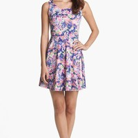 Soprano Back Cutout Print Skater Dress (Juniors) | Nordstrom