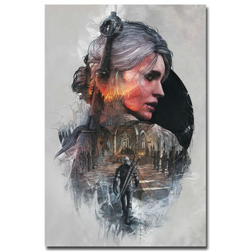 The Witcher 3 Wild Hunt Hot Game Art Silk Fabric Poster Print 12x18 32x48inch Cirilla Geralt Pictures for Home Wall Decor