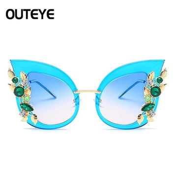 OUTEYE Diamond Glasses Retro Cat Eye Sunglasses Women Summer Style Polarized Flowers Sun Glasses Sunwear Female Eyewear
