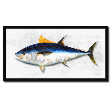 Bluefin Tuna Fish White Canvas Print Picture Frame Gifts Home Decor Nautical Wall Art