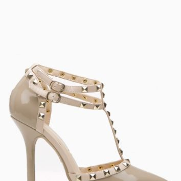 Natural Faux Patent Leather Studded Pointed Toe Single Sole Heels @ Cicihot Heel Shoes online store sales:Stiletto Heel Shoes,High Heel Pumps,Womens High Heel Shoes,Prom Shoes,Summer Shoes,Spring Shoes,Spool Heel,Womens Dress Shoes