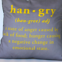 "HANGRY CUSHION, hangry pillow, cushion cover,decorative pillow, 16x16 pillow HANGRY yellow and grey 16"", 41cms"