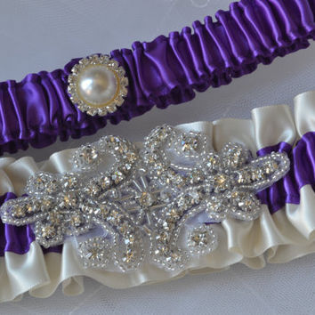 Wedding Garter Set - Purple And Ivory Garters With Crystal Rhinestone Applique, Garter Belts, Bridal Garter Set