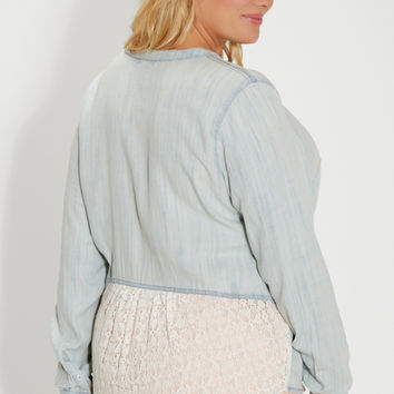plus size chambray button down shirt with lace back | maurices