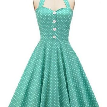 Vintage Sleeveless Knee-Length Ball Gown A-Line Dress