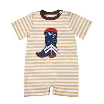 Embroidered Cowboy Boot Romper