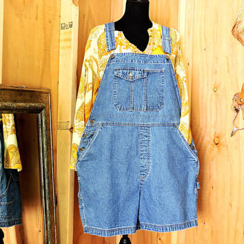 90s overall shorts XL size 16 / 18 / Cherokee bib overall shorts / denim over all shorts