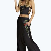 Kelly Embroidered Wide Leg Trousers