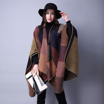 2017 Vita Brand Women's Winter Poncho Vintage Blanket Plaid Female Cashmere Robe Warm Shawl Cape Scarves Poncho Elegant Stoles