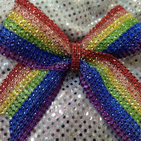 Rainbow Rhinestone Cheer Cheerleading Dance Ribbon Bow