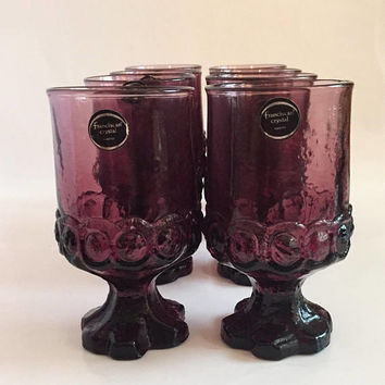 Tiffin Franciscan Crystal Plum Goblets, Set of 8 Purple Glass Footed Goblets, Wedding Decor, Colored Goblets, In Original Box