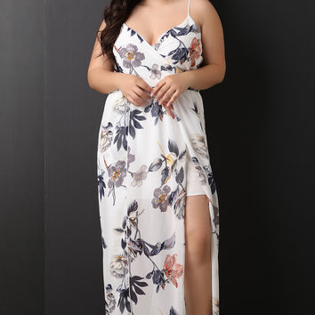 Floral Surplice Slit Maxi Dress | UrbanOG