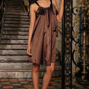 Women's — Chocolate Brown Charmeuse Halter Swing Dress