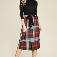 Midi Plaid Pockets Contrast Dress - Dark Grey