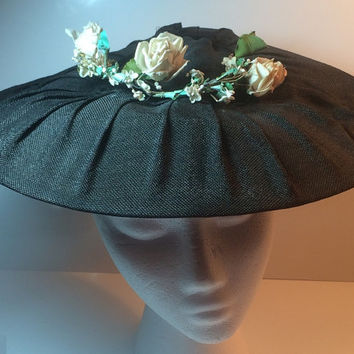 Vintage Charcoal Halo Wide Brim Ladies Hat Synthetic Blend Floral Garland Black Velvet Ribbon Pleated Wire Rim Internal Headband Glamorous
