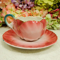 Luneville K&G Keller Guerin France French Faience Oversized Cup & Saucer Tulip