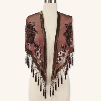 SILK BROCADE SHAWL - Burnout Velvet Beaded Shawl