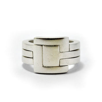 Square Shaped || 3 Piece Puzzle Ring || Sterling silver. Unisex - for men /women. Modern & unusual ring, Interlocked as one wide band ring.