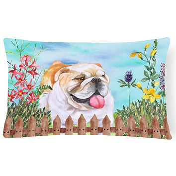 English Bulldog Spring Canvas Fabric Decorative Pillow CK1201PW1216