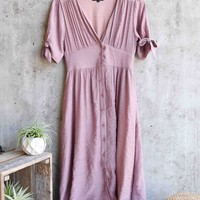 darling gauzy cotton endless summer midi dress - mauve