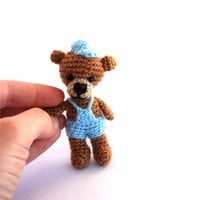 bear, miniature bear, tiny crocheted bear. amigurumi tiny bear, lovely bear, teddy bear, wee brown blue bear, boy bear, little stuffed bear