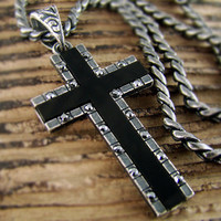 "1.57"" Mens Retro Burnished Black Cross Onyx Pendant Necklace Cubic Zirconia Mens Jewelry Set 24RTB"