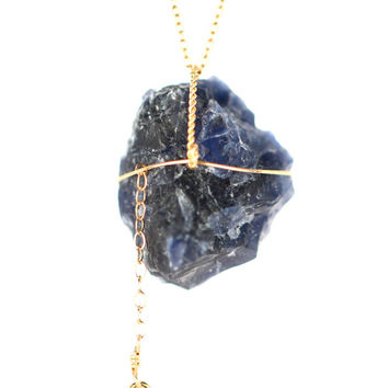 Sodalite necklace - crystal necklace - rock necklace - a rough sodalite nugget on a 14k gold filled chain with a little peace sign