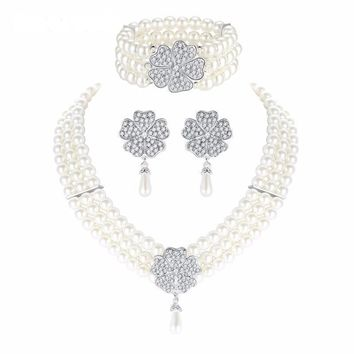 Crystal Rhinestone Flower Triple Strand Simulated Pearl Drop Jewelry Set Necklace Earrings Bracelet