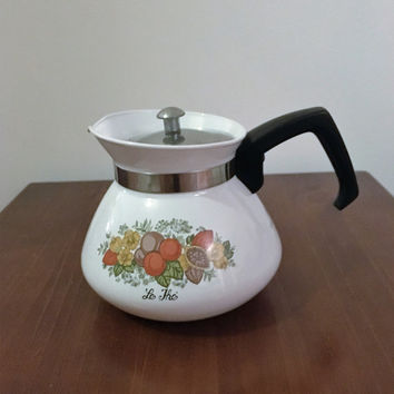 "Vintage 1960s Corning Ware 'Spice of Life"" Stove Top Kettle P-106-8 / 6 Cup Coffee Pot / Retro Tea Pot"