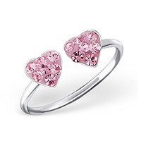 Double Heart Toe Ring Light Pink Rose Crystal Girl Jewelry Sterling Silver 925 (E18838)