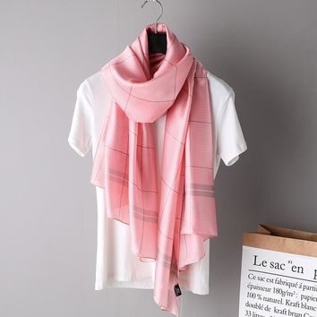 Fashion Silk Scarf Women Pink Plaid Printed Scarves High Quality Beach Long Shawls Wraps 2018 Summer Bandana Femme Foulard