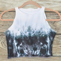 Black Crop Top, Crop Tank Top, Black and White Crop Top, Tie Dye Clothing, Tie Dye Shirt, Tie Dye Tank Tops, Crop Top Bikini, Crop Top Shirt