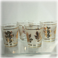 Gold Leaf, Shot Glasses, Libbey Glass, Frosted Glass, Set of 4, Barware