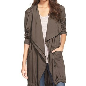 Junior Women's Sun & Shadow Drape Front Hooded Anorak,