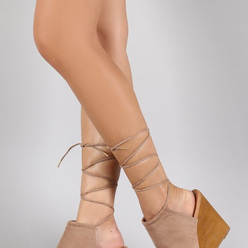 Qupid Faux Wooden Mule Lace Up Wedge