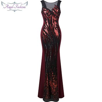 Angel fashions Sheer Round Neck Sequin Splicing Backless Mermaid Long Evening Dresses Burgundy 348