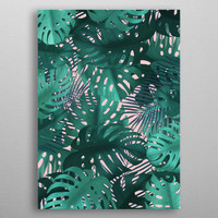 Tropical leaves on pink by Jace Anderson | Displate